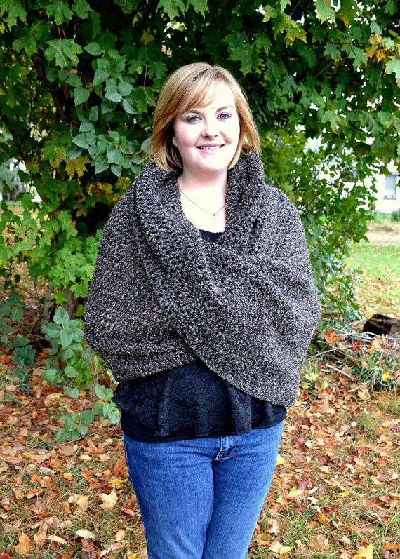 Oversized Shoulder Wrap Shawl Dark Brown Mobius Twisted Crochet