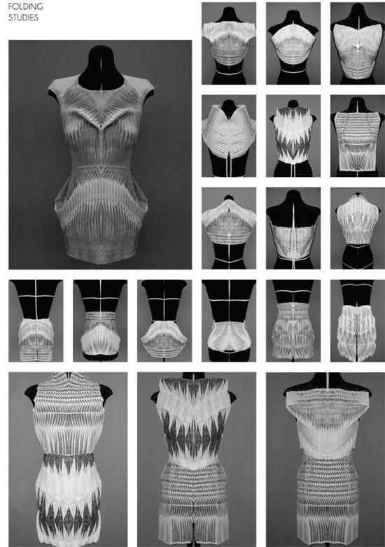 Fold studies by Kirsten Enkelmann inspired by cinematographer Etienne-Jules Marey