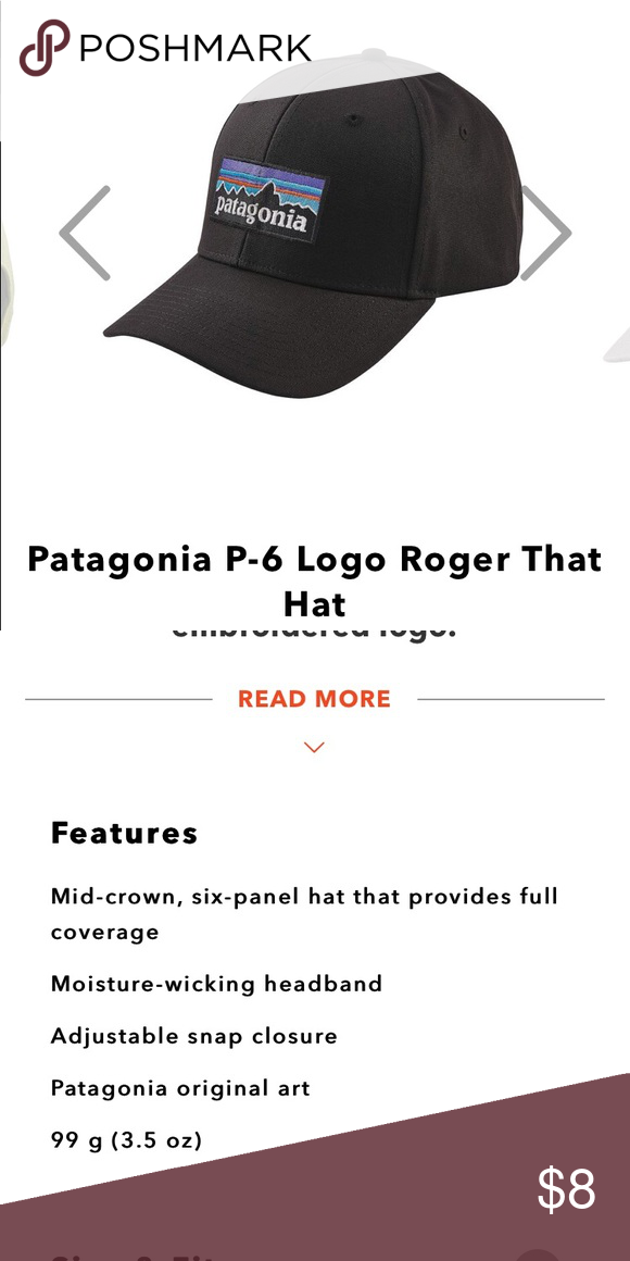 Patagonia cap 100 % organic cotton mid crown hat that's adjustable