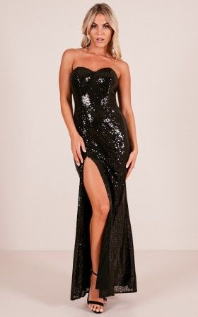 Shimmer Shimmer Maxi Dress In Black Sequin Clothes Pinterest