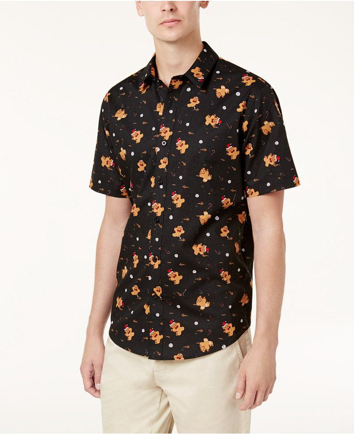 a0db39804 American Rag Men's Men's Slim-Fit Gingerbread Man Shirt, Created for Macy's