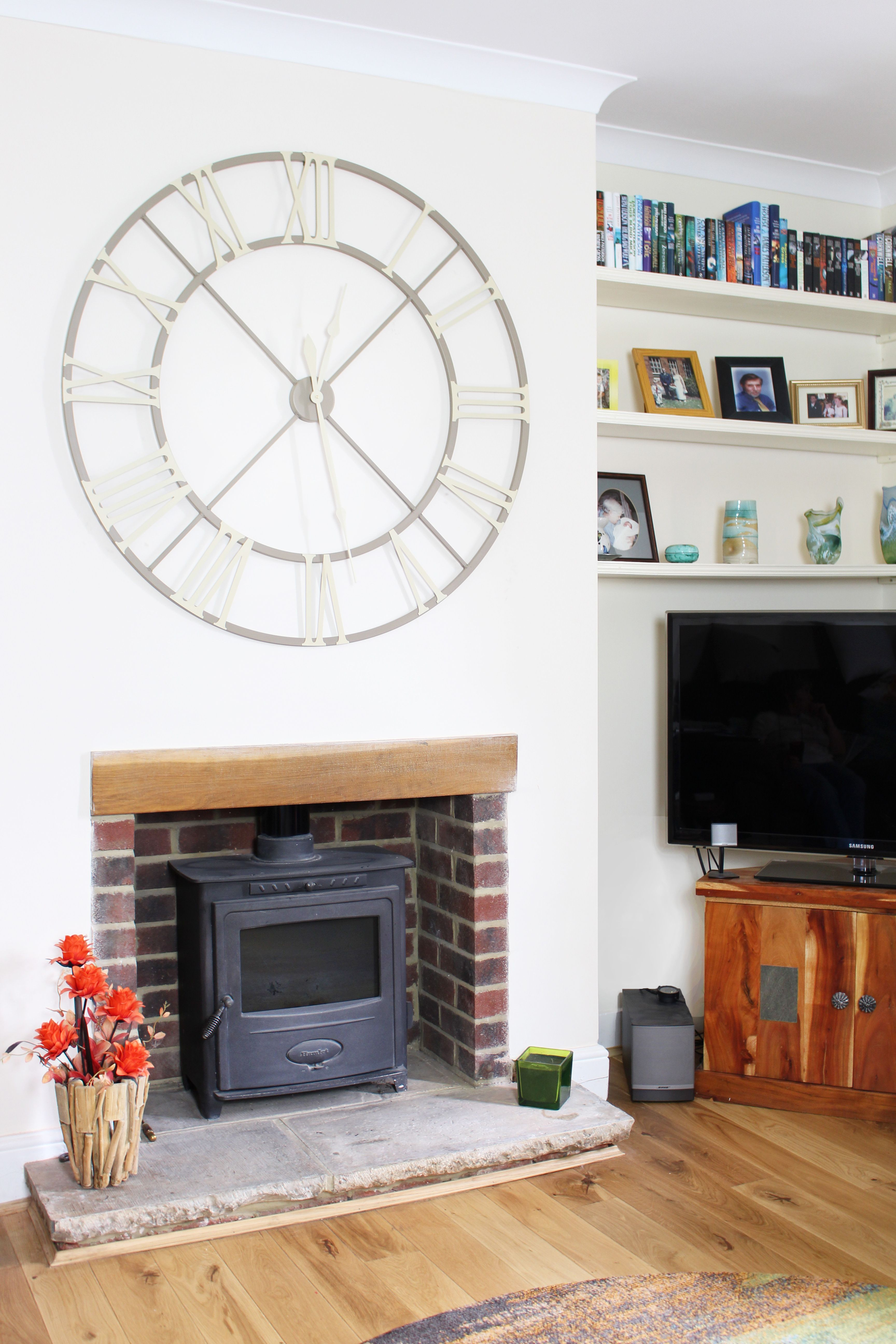 The Classic Pictured In Sand Brown Above A Recently Renovated Open Brick Fireplace In An Old