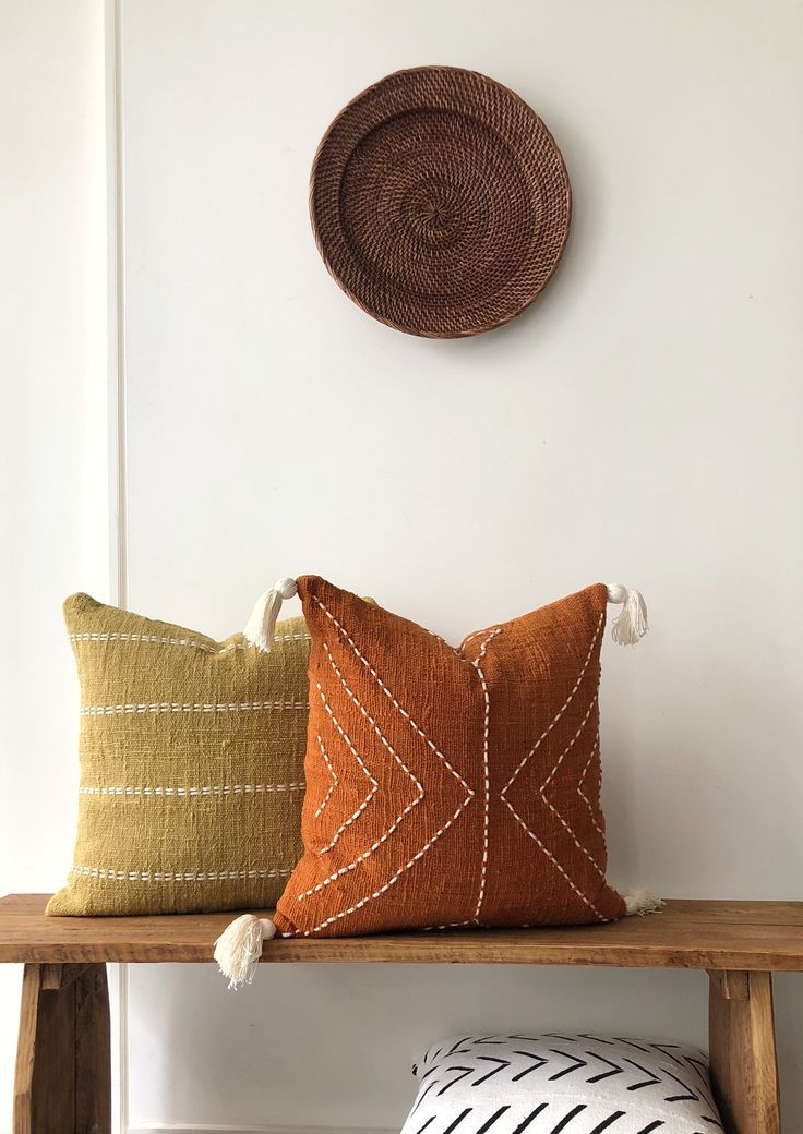 Mustard Boho Pillow. Organic Natural Raw Cotton Hand-dyed mustard colour with stitch finish. ...