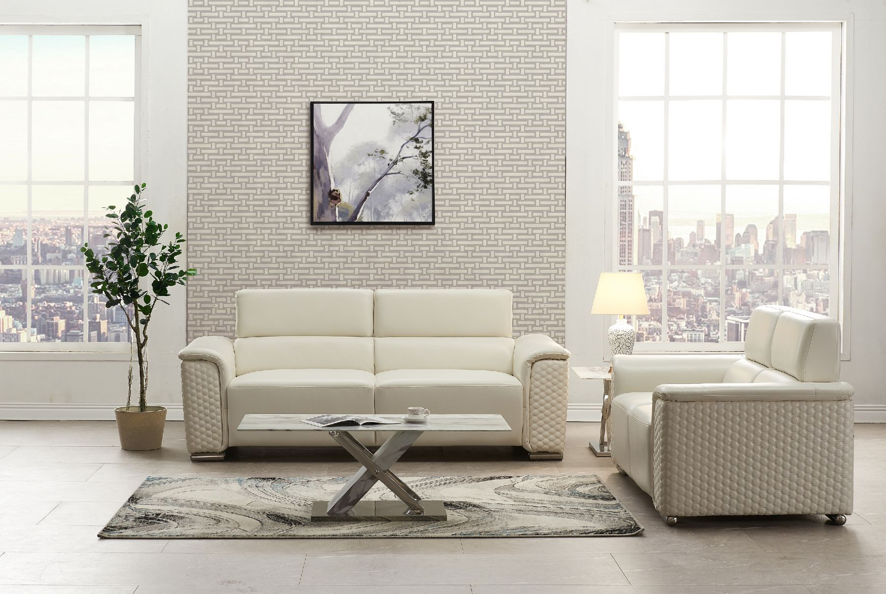 Global Usa G9460 Blanche White Leather Gel Contemporary Sofa
