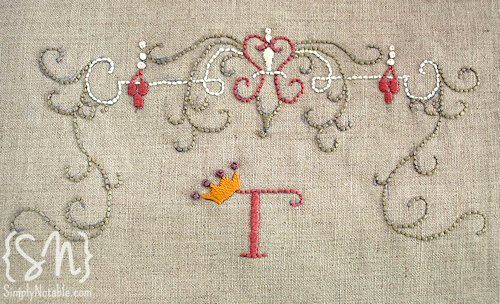 Free printable for hand embroidery  Pretty scrolls and a cute little