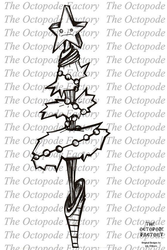 INSTANT DOWNLOAD Whimsical Christmas Tree Digital Stamp | digi ...