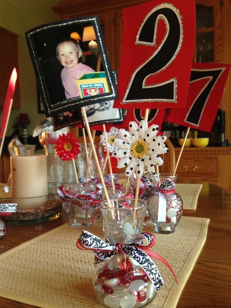 Love this idea center pieces with a picture the number for Old school party decorations
