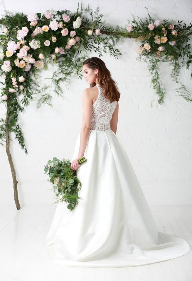 Lace back wedding dress uk designer