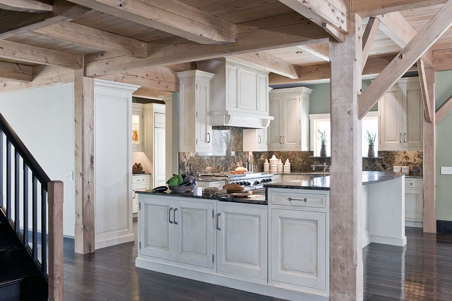 mesmerizing whitewashed oak kitchen cabinets | Columns give support to a wall while opening up. Rustic ...
