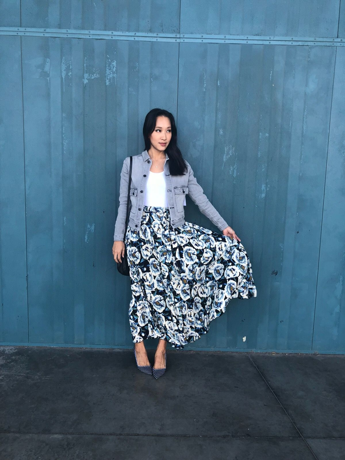 01f31037c1 Say hello to cooler weather in this breezy floral Deanne Skirt and denim  Kenny jacket! @lizypo knows how to go into the new season in style! #OOTD