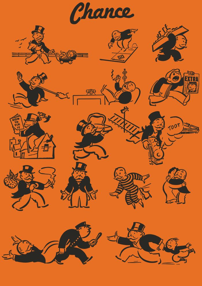 Vintage Monopoly Mr Pennybags Chance Card Vectors by robdevenney ...