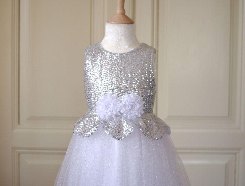 Sale silver flower girl dress wedding winter by allegriaboutique