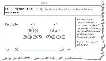 5 Prime Factor Tree Worksheets Home School Factor Trees