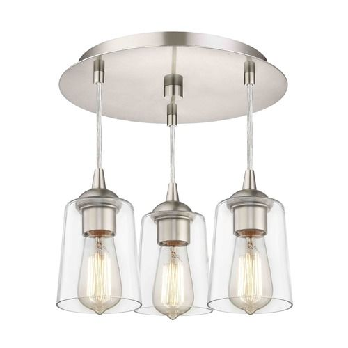 3 light semi flush light with clear cone glass nickel finish at destination