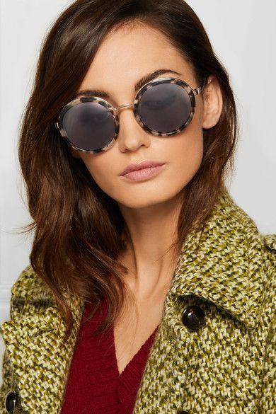 64027e884914 Prada Round-frame Acetate And Gold-tone Sunglasses - Tortoiseshell ...