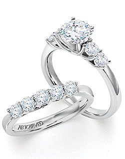 Felicity 5-stone engagement ring and and wedding band by ArtCarved.