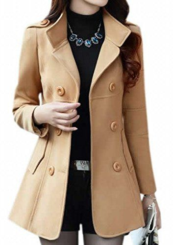 XQS Women Double Breasted Faux Fur Trench Pea Coat Jacket Overcoat