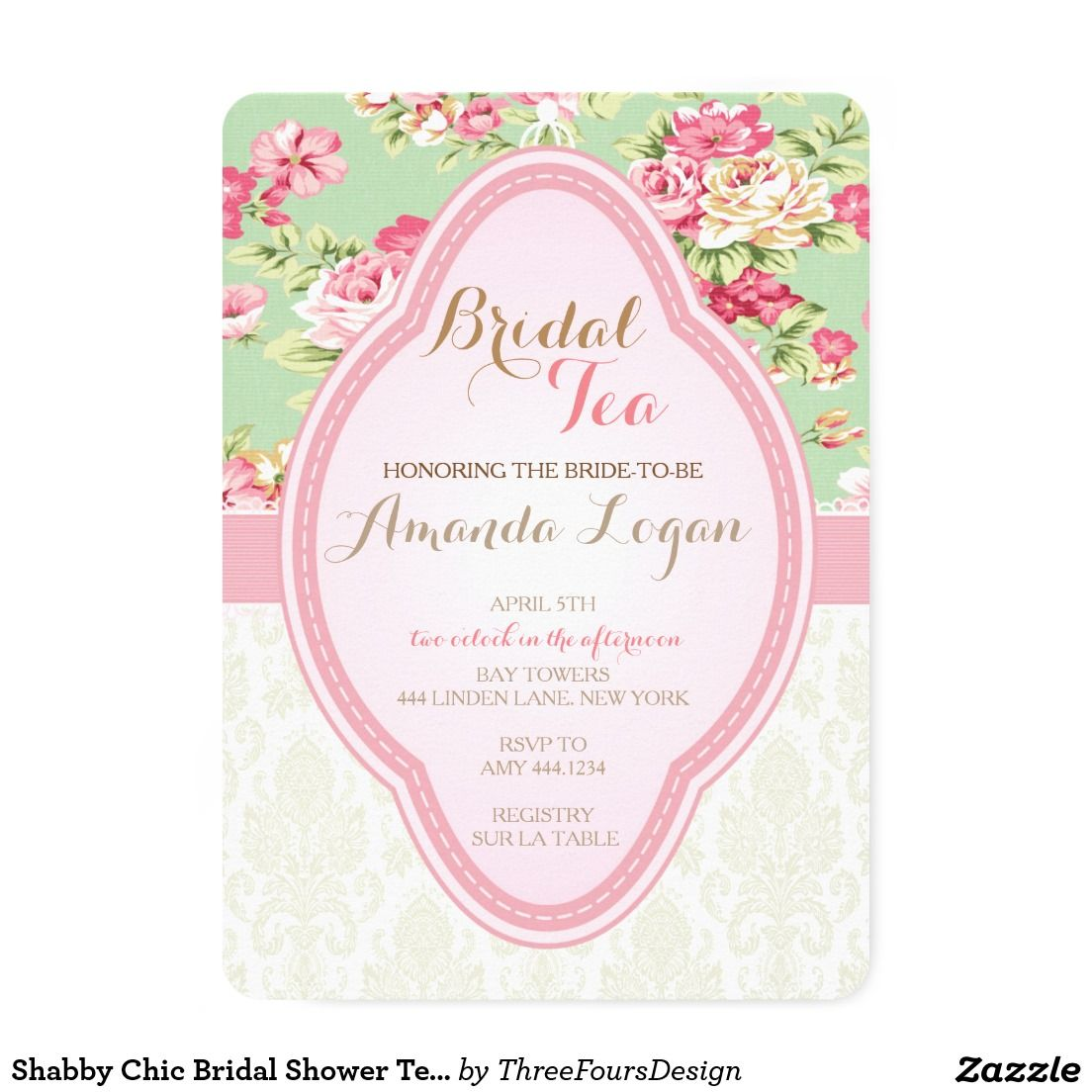 Shabby Chic Bridal Shower Tea Party Invitations | Modern vintage ...