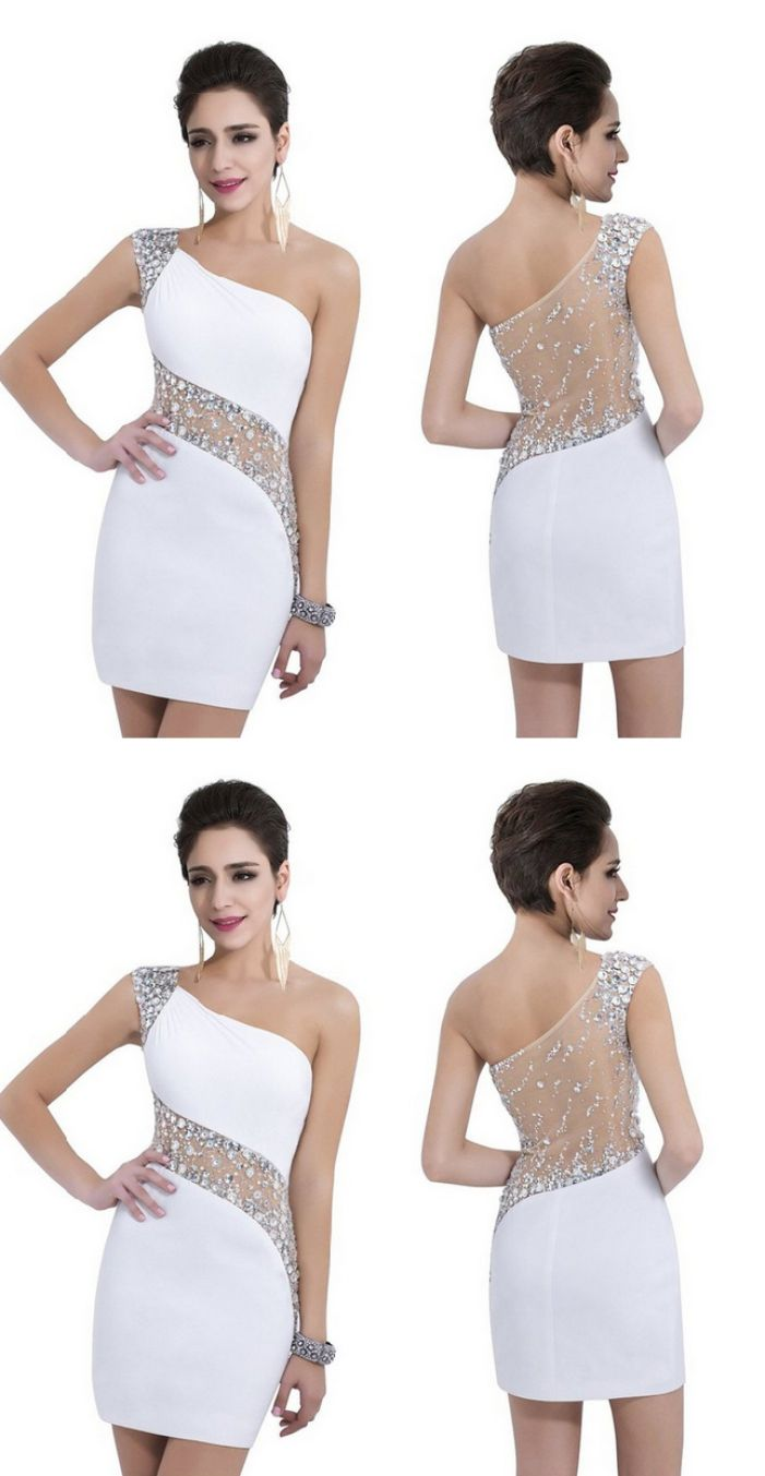 One shoulder homecoming dresses white short homecoming dresses one