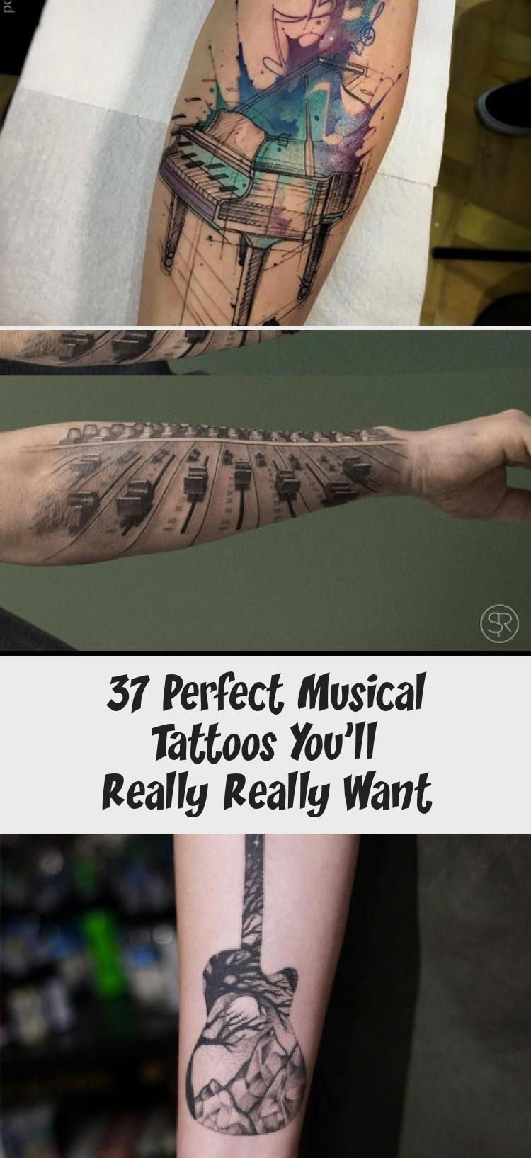 37 Perfect Musical Tattoos You'll Really Really Want – TattooBlend #tattoodesignsNeck #Skulltattoodesigns #tattoodesignsRibs #Hearttattood