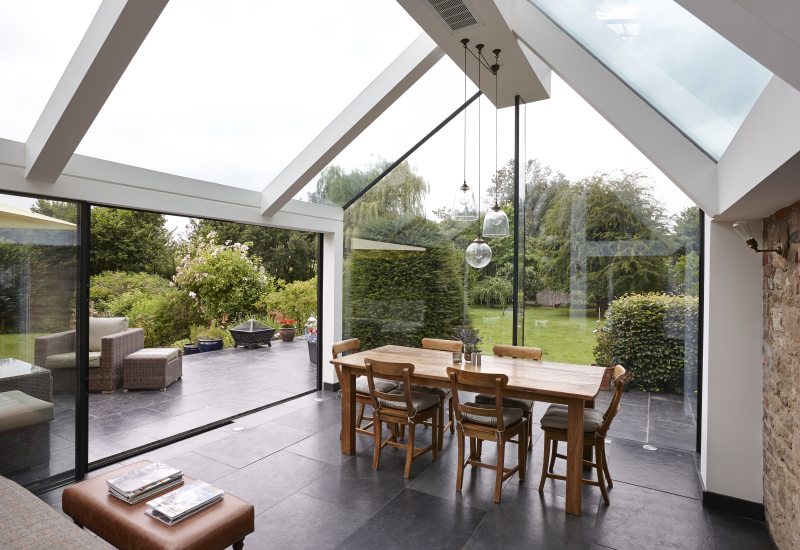 Modern Glass Extensions a modern glass lounge space extension to a listed country home