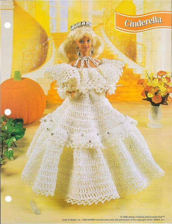Crochet Barbie Fashion Doll Pattern CINDERELLA GOWN & Tiara ...