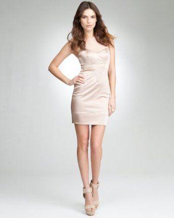 bebe Lace Panel Va Va Voom Dress- rose dust