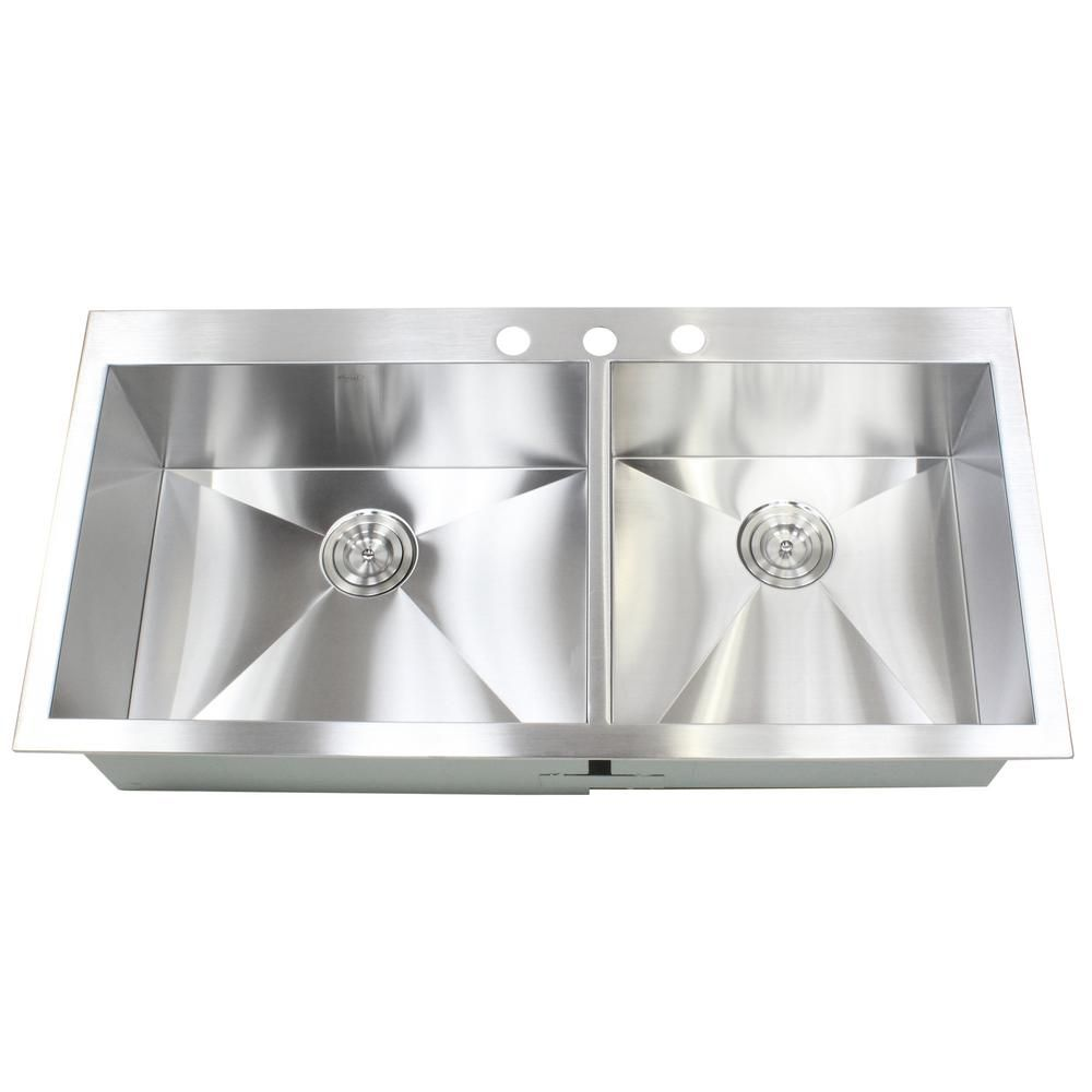 Kingsman Hardware Topmount Drop In 16 Gauge 42 7 8 In X 21 1 2 In X 10 In Stainless Steel Double Bowl 60 40 Zero Radius Kitchen Sink Ft4321 Sink Double Bowl Kitchen Sink Bar Sink