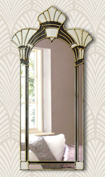 Amelia Original Handcrafted Art Deco Wall Mirror In Cream & Black | Phillip Orr | Mirror Mania | Vinterior