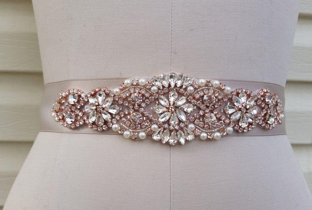 Wedding Dress Sash Belt Rose Gold Crystal Pearl Sash