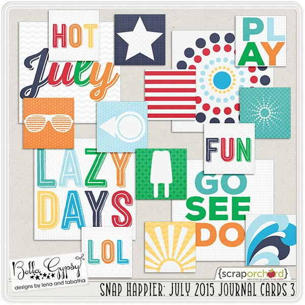 Snap Happier: July 2015 Journal Cards 3 by Bella Gypsy Designs