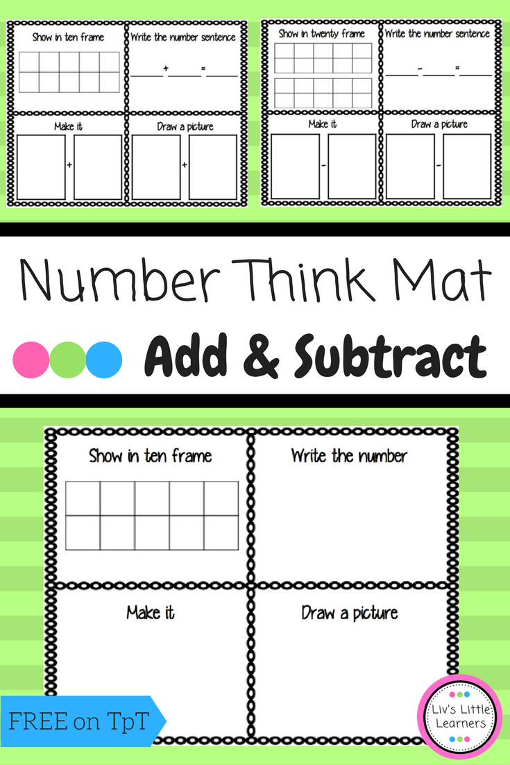 Number Think Mat Counting Addition Subtraction Free Math Teaching Math Education Math