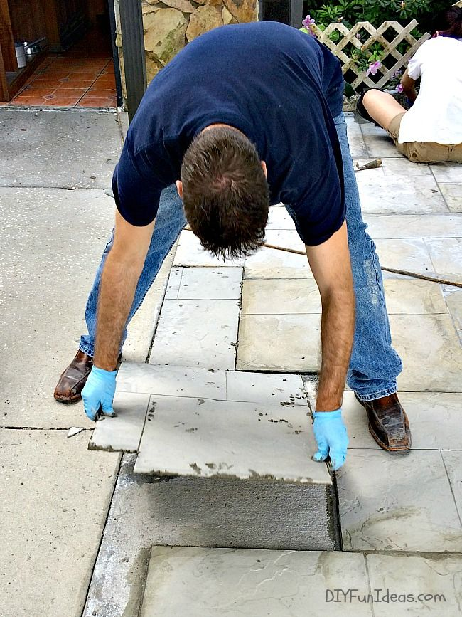 DIY CONCRETE TILED DRIVEWAY TUTORIAL GET A STAMPED LOOK FOR WAY LESS