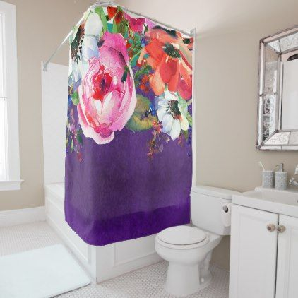 Bright Watercolor Floral Purple Trendy Chic Bold Shower Curtain   Shower  Curtains Home Decor Custom Idea
