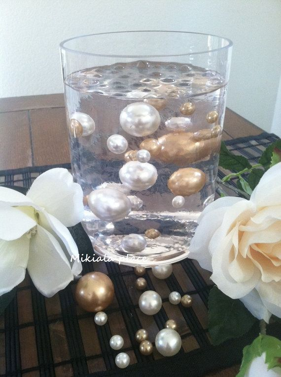 Champagne White Jumbo Floating Pearls For Vase Fillers Holiday Wedding Centerpiece Table Confetti