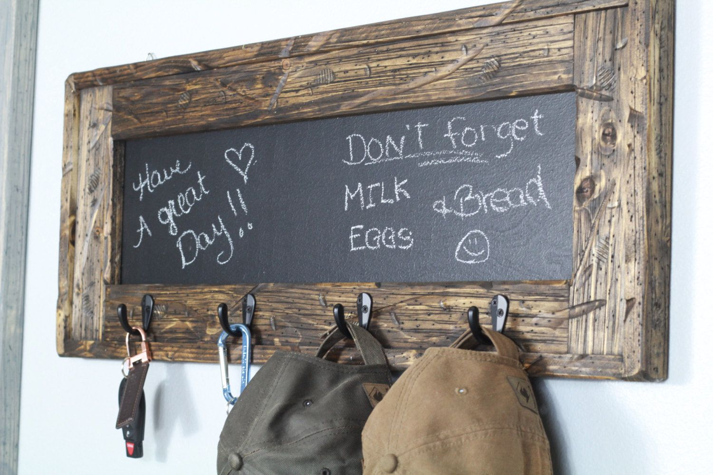 Rustic Chalkboard Coat Rack Key Holder Hat Rack Entry Decor