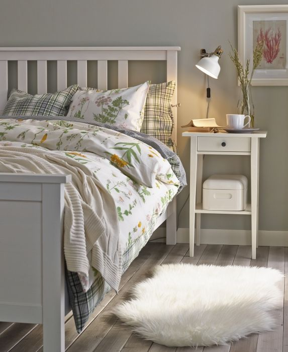 Schlafzimmer ikea hemnes  HEMNES Bed frame, white stain, Lönset | Sleep better, Beautiful ...