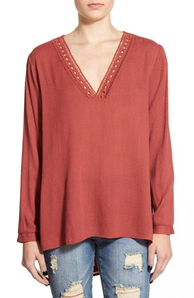 lage Lush Crochet Detail Peasant Blouse available at #Nordstrom