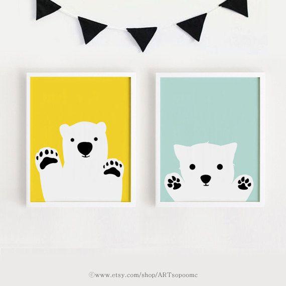 Printable Nursery Art Set Poster Baby room Wall art Yellow and Mint ...