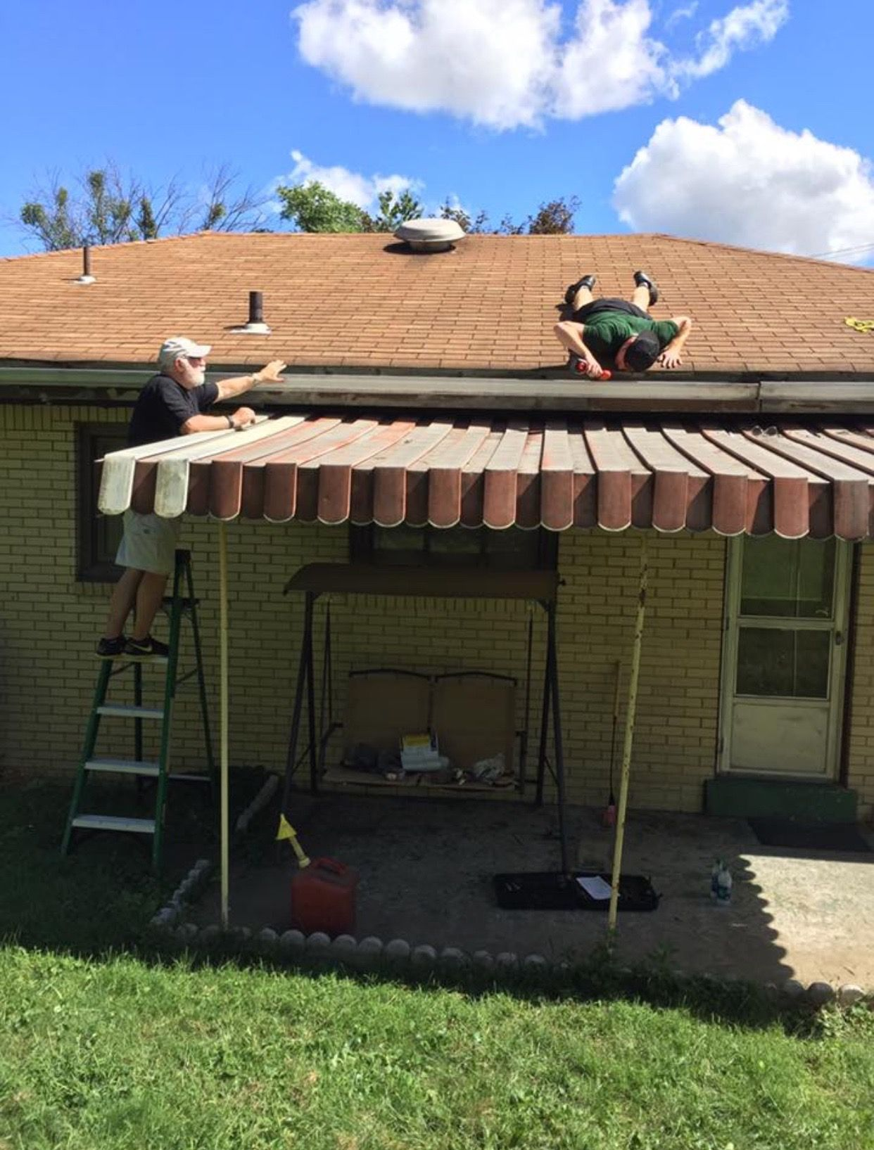 Uncle Tim And Zane Were Fixing The Roof For Me Today No More Buckled Or Clogged Gutters Job Complete Clogged Gutter Families Are Forever Chinese Buffet