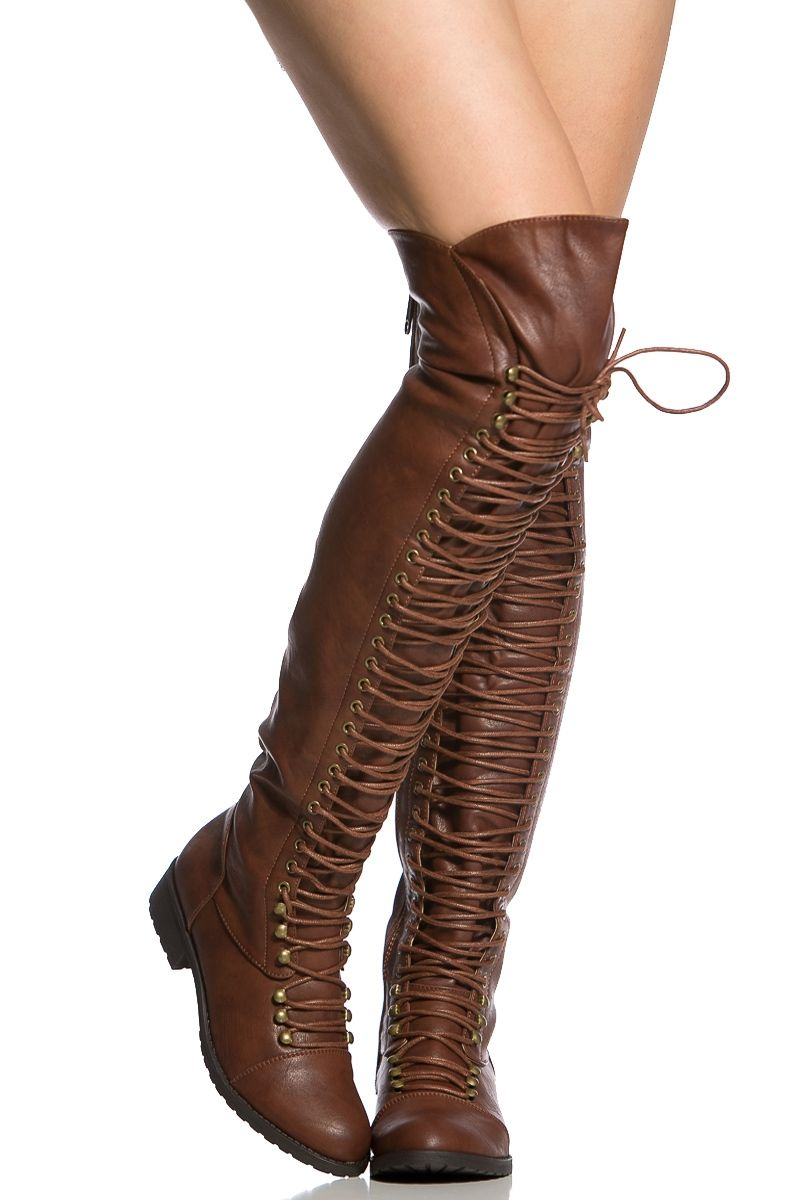 Women Military Lace Up Thigh High Snow Boots Combat Boot