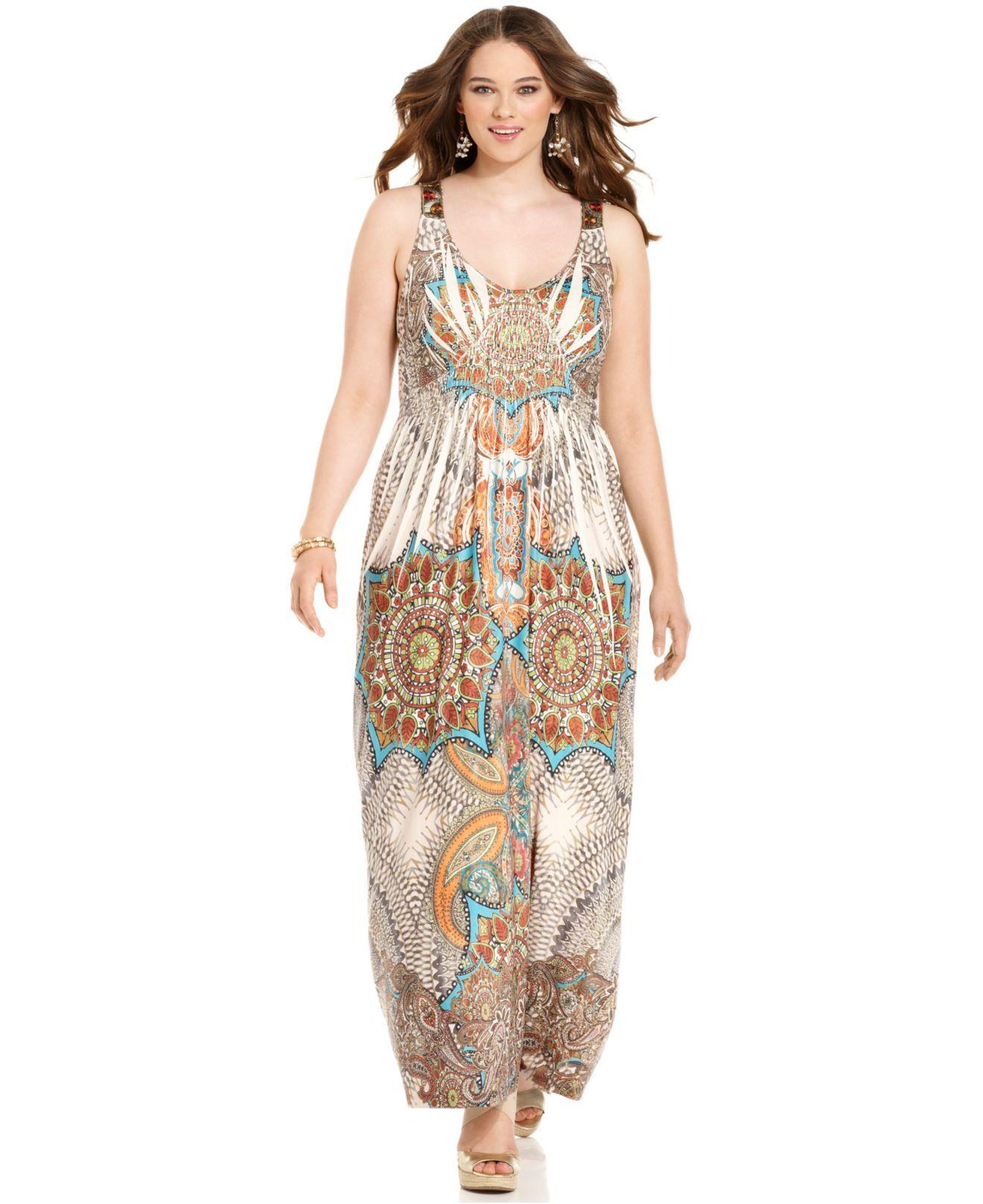 One World Plus Size Dress, Sleeveless Sublimated-Print Maxi ...
