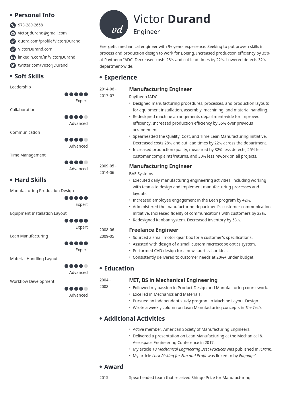 Engineering Resume Example Template Initials Engineering Resume Engineering Resume Templates Resume Examples