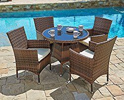 Suncrown Outdoor Furniture All Weather Wicker Round Dining Table
