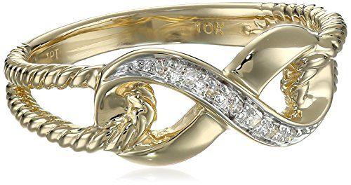 10k Yellow Gold Infinity Diamond Ring...