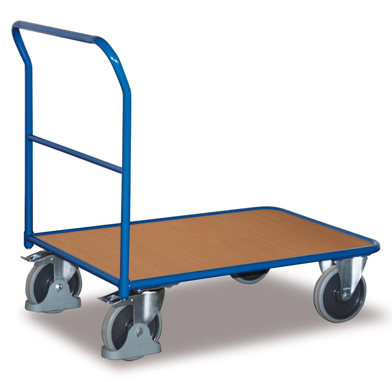 GTARDO.DE:  Stahlrohr Schiebebügelwagen, Tragkraft 400 kg, Ladefläche 1200 x 700 mm, Maße 1300 x 700 x 1006 mm, Rad 200 mm 151,00 €