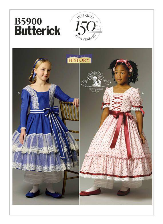 Oop 5900 Butterick Girls Historical Costume Pattern Civil War