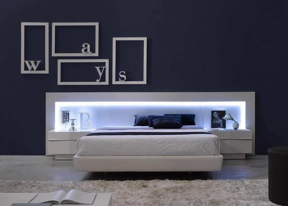 Spain Made Ultra Modern Platform Bed W Led Headboard
