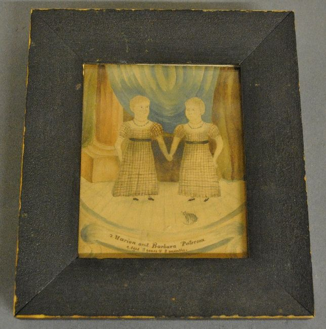 """Fine New England watercolor painting of two girls on a stage with a cat, titled """"Marion and Barbara Paterson Aged 2 years & 8 Months"""