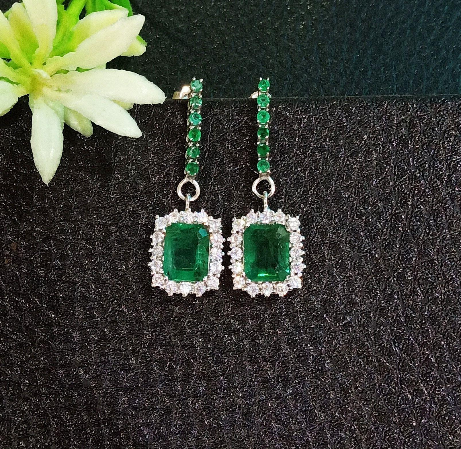 14k White Gold Natural Emerald Amp Diamond Women Earring